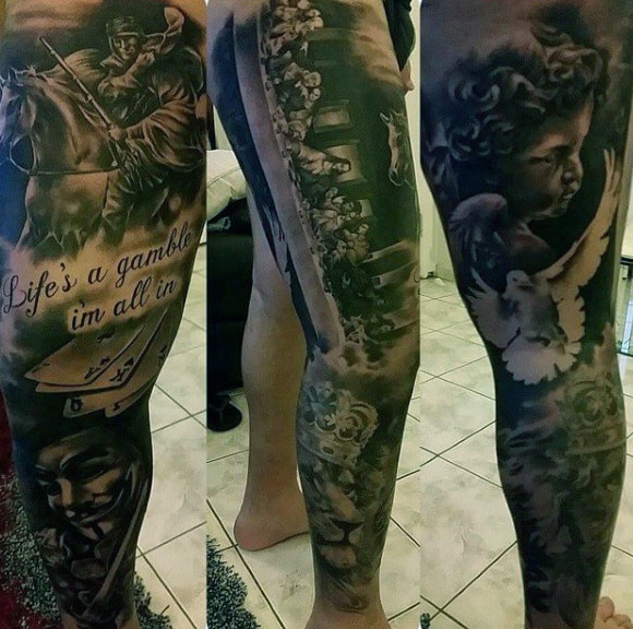 Cool Last Supper Leg Sleeve Tattoo Ideas For Men