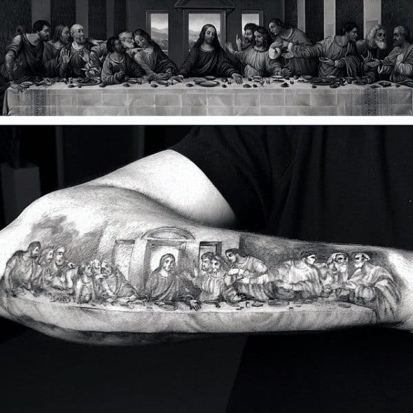Cool Last Supper Outer Forearm Male Tattoos
