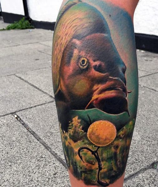 Cool Leg Calf Guy's Tattoos Of Fish