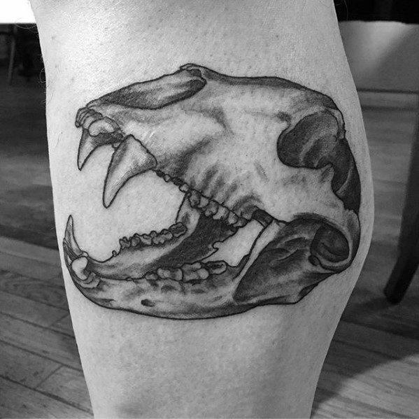 Cool Leg Calf Male Bear Skull Tattoo