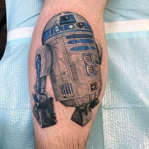 Cool Leg Calf Rd2d Tattoo On Male
