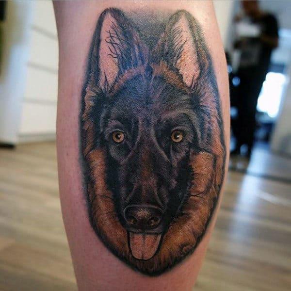 Cool Leg Calf Tattoo Of German Shepherd Dog For Men