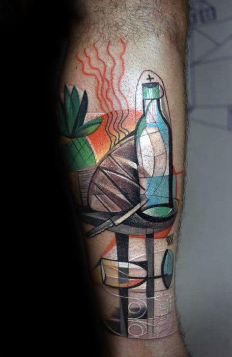 Cool Leg Colorful Cubism Tattoo Design Ideas For Male
