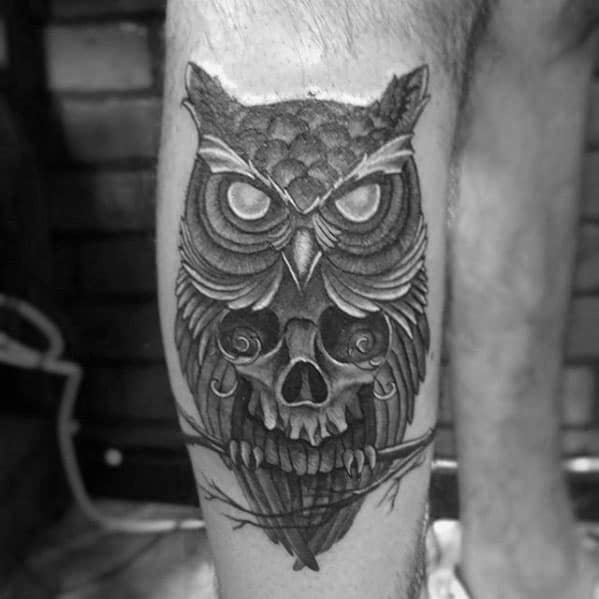 Cool Leg Male Owl Skull Tattoo Designs