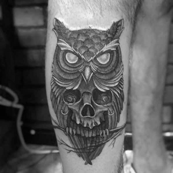 Cool Leg Male Owl Skull Tattoo Designs