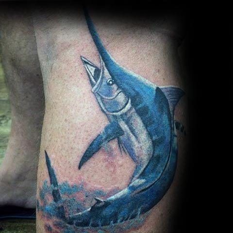 Cool Leg Marlin Tattoo Design Ideas For Male