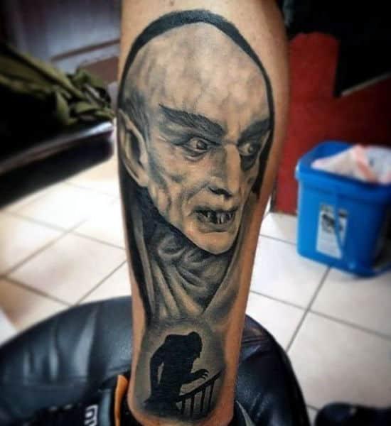 Cool Leg Tattoos Vampire For Guys