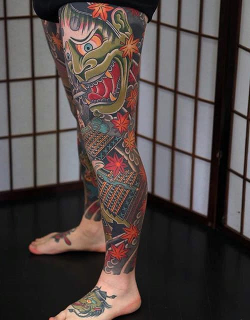 Cool Leg Thigh Sleeve Tattoo For Men With Japanese Designs