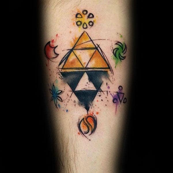 Cool Legend Of Zelda Symbols Mens Watercolor Triforce Inner Forearm Tattoo