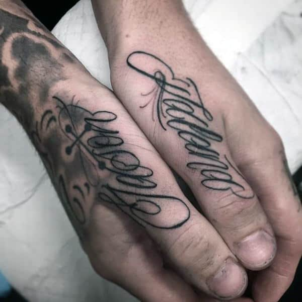 Cool Lettering Decorative Words Thumb Tattoos For Men