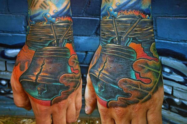 Cool Liberty Bell Male Hand Tattoo Design Ideas