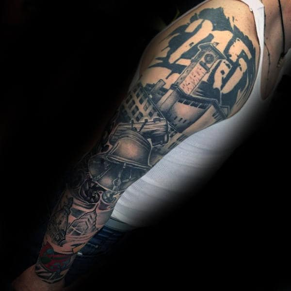 Cool Liberty Bell Philadelphia Themed Male Sleeve Tattoos