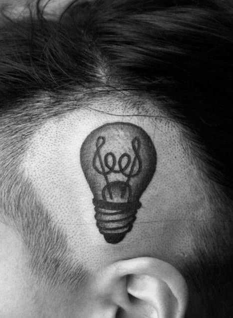 Cool Light Bulb Head Tattoo For Men
