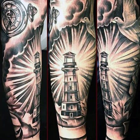 Cool Lighthouse Tattoos For Men