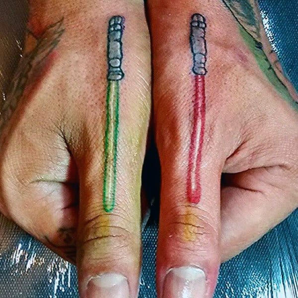 Cool Lightsaber Finger Tattoos For Men