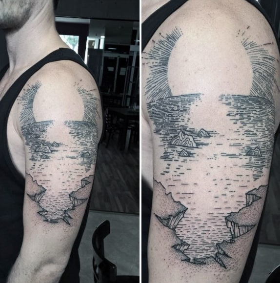 Cool Line Work Tattoo Of Water And Cliff Edge On Upper Arm For Men