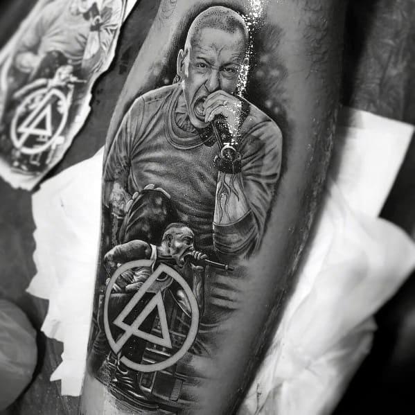 Cool Linkin Park Chester Singer Themed Tattoos For Men