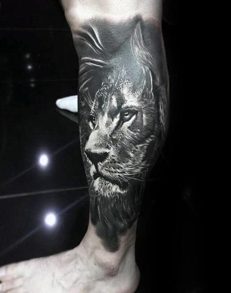 Cool Lion Leg Sleeve Tattoos For Males