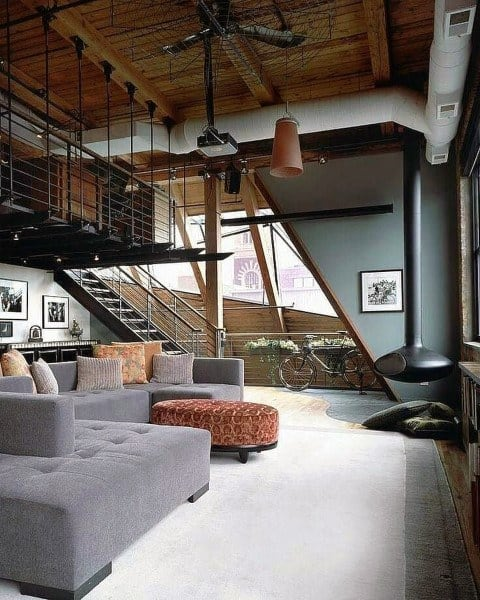 Cool Living Room Bachelor Pad Lofts