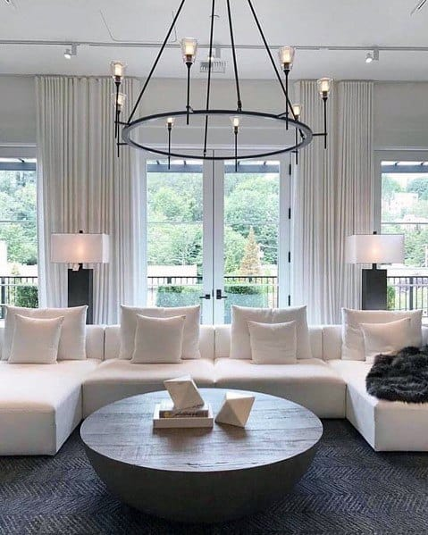 Cool Living Room Lighting Design Ideas Black Round Large Chandelier
