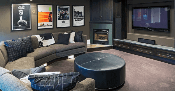 Cool Living Room Lounge Home Basement With Small Fireplace