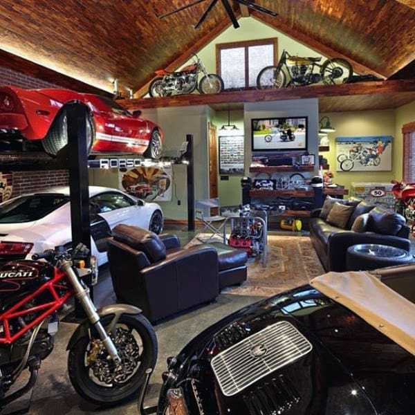 Cool Lounge Dream Garage With Motocycles And Vintage Automobiles