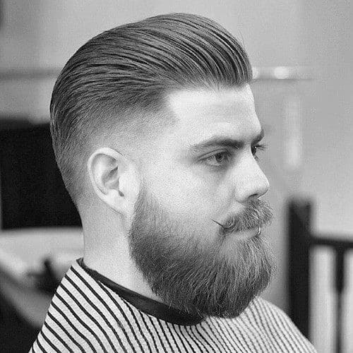 Great Cool Low Fade Mens Slicked Back Hair With Beard