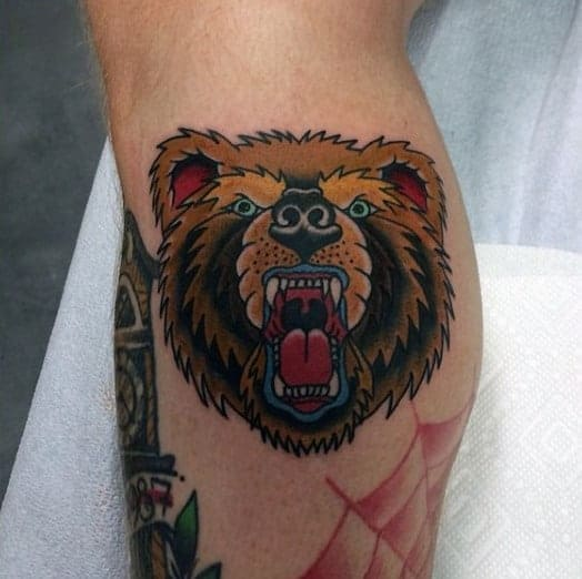 cool-lower-leg-male-bear-traditional-tattoo-ideas