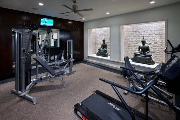 40 personal home gym design ideas for men workout rooms Home gym decor ideas