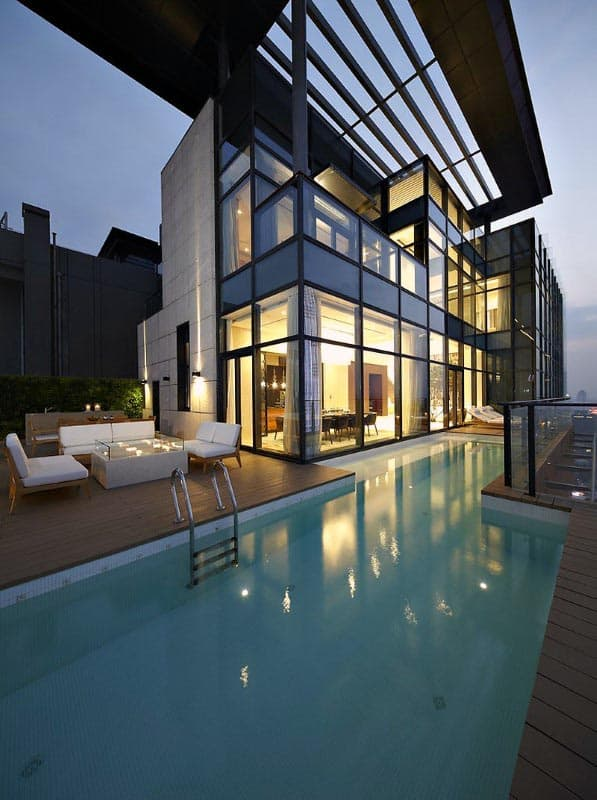 Cool Luxury Modern Home Swimming Pool With Terrace Roof Top Cover