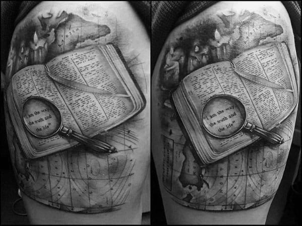 Cool Magnifying Glass Tattoos For Men
