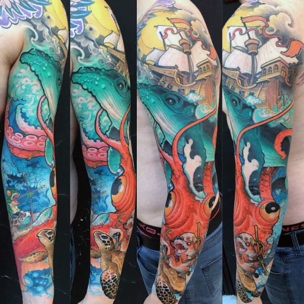 Cool Majestic Ship And Red Octopus Tattoo Mens Full Sleeves