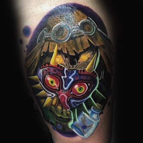 Cool Majoras Mask Mens Zelda Themed Thigh Tattoos
