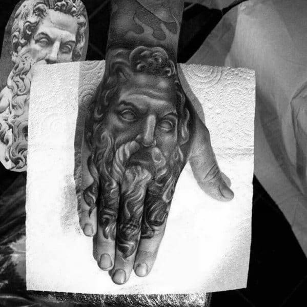 Cool Male 3d Hand Shaded Socrates Tattoo Designs