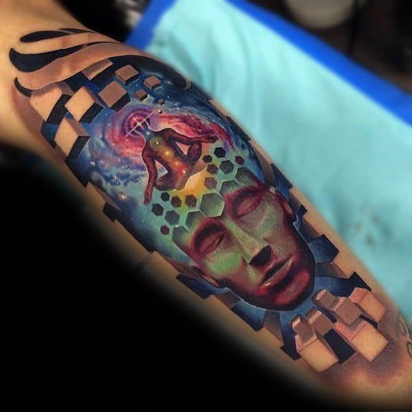 Cool Male 3d Realistic Consciousness Tattoo Designs On Leg