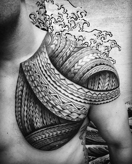 Cool Male 3d Shoulder And Chest Awesome Tribal Tattoo Designs