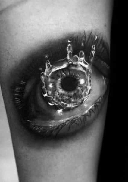 Cool Male 3d Water Drop Tattoo Designs