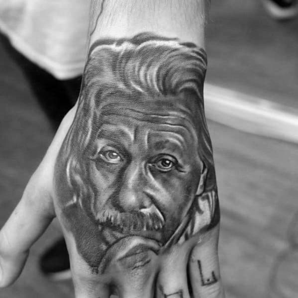 Cool Male Albert Einstein Tattoo Designs On Hand