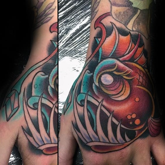 Cool Male Angler Fish Tattoo Designs Hands