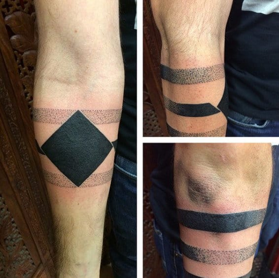 Cool Male Armband Tattoos With Geometric Square