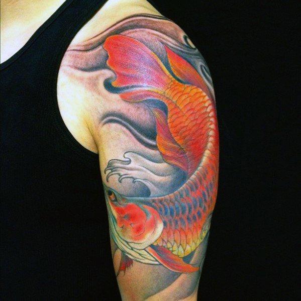 Cool Male Arowana Tattoo Designs On Arm