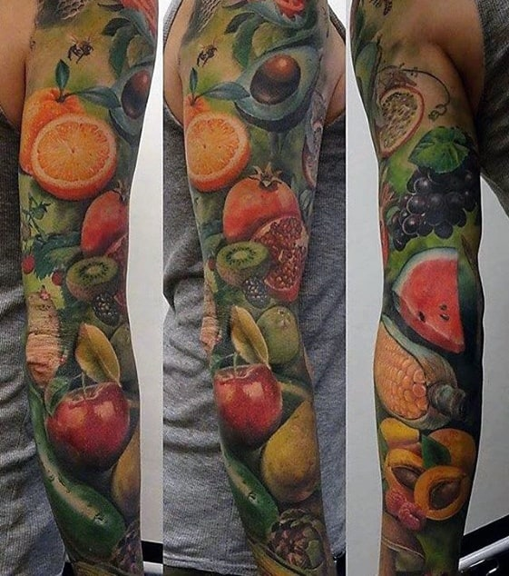 Cool Male Avocado Tattoo Designs