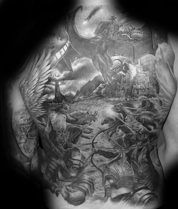 Cool Male Awesome Back Tattoo Designs With Black And Grey Ink