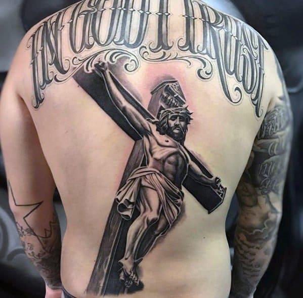 Cool Male Back 3d Jesus Tattoo Designs