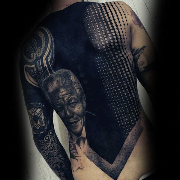 Cool Male Back Pitch Black And Designs Dotwork Tattoo