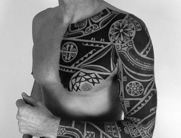 Cool Male Badass Tribal Tattoo Designs On Chest And Arm Sleeve