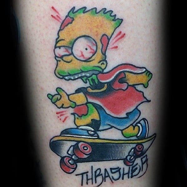 Cool Male Bart Simpson Zombie Riding Skateboard Forearm Tattoo Designs