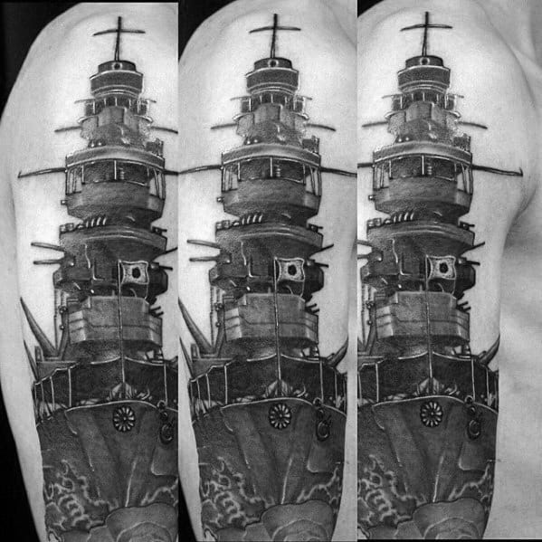 Cool Male Battleship Tattoo 3d Realistic Designs Full Arm