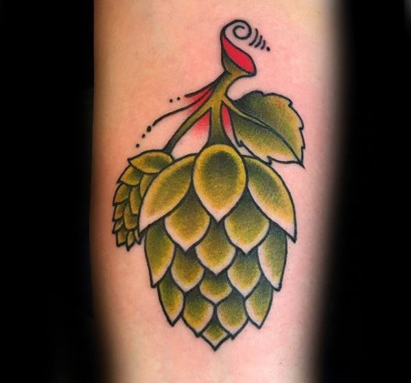 Cool Male Beer Hops Traditional Tattoo Designs
