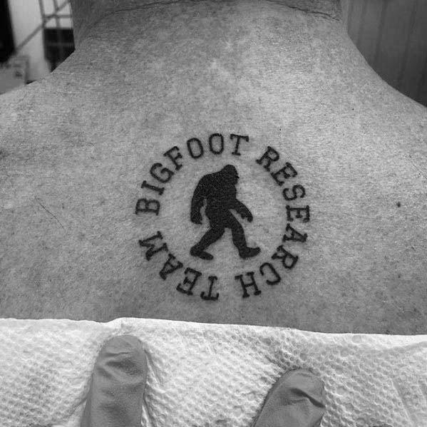Cool Male Bigfoot Tattoo Designs On Upper Back